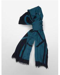 Calvin Klein | Blue White Label Lightweight Logo Grid Block Scarf | Lyst