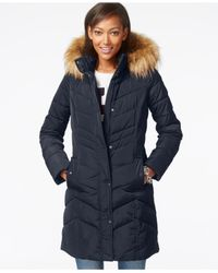 Tommy Hilfiger | Blue Faux-fur-trim Chevron Quilted Coat | Lyst