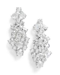 kate spade new york Metallic 'boathouse' Crystal Drop Earrings - Clear/ Silver