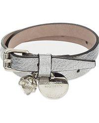 Alexander McQueen | Metallic Double Wrap Leather Bracelet | Lyst