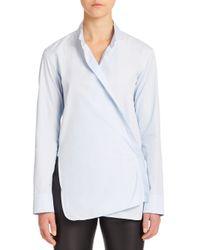 Helmut Lang | Blue Overlap Poplin Shirt | Lyst