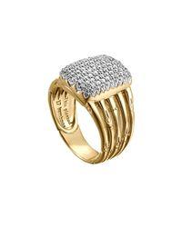 John Hardy Metallic Bamboo 18k Diamond Five-row Ring