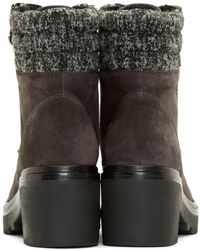 Moncler - Gray Grey Suede And Tweed Viviane Boot - Lyst