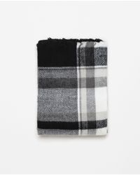 Zara | Black Checked And Striped Scarf | Lyst