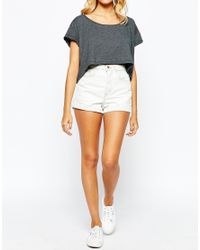 American Apparel White High Rise Denim Cuff Shorts