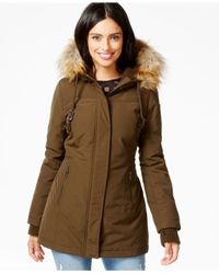 DKNY - Brown Faux-fur-trim Water-resistant Hooded Parka - Lyst
