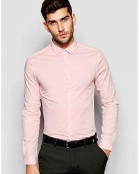 ASOS Skinny Shirt With Long Sleeves In Pink for men