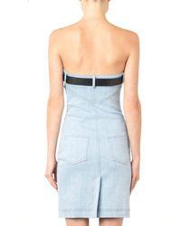 Moschino Blue Strapless Belted Denim Dress