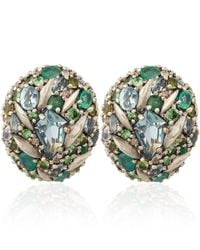 Alexis Bittar Fine - Green Silver Diamond Pave Button Clip-on Earrings - Lyst
