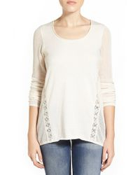 Lucky Brand | Natural Lace Inset Cotton & Cashmere Knit Tunic | Lyst