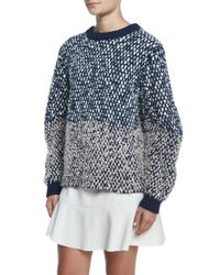See By Chloé Blue Bobble Knit Long-sleeve Sweater