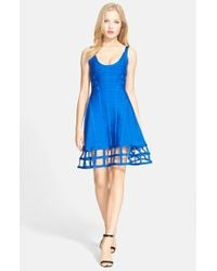 Hervé Léger | Blue Caged Bandage Fit & Flare Dress | Lyst