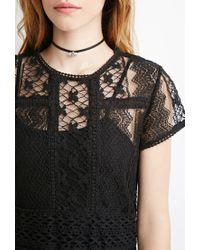 Forever 21 - Black Semi-sheer Ornate Crochet Dress - Lyst