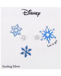 Disney | Metallic Frozen Cubic Zirconia Snowflake Stud Earrings In Sterling Silver | Lyst
