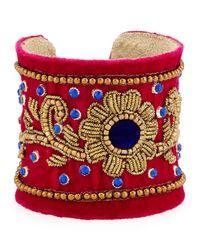 Chamak by Priya Kakkar - Multicolor Velvet Floral Beaded Cuff Bracelet - Lyst
