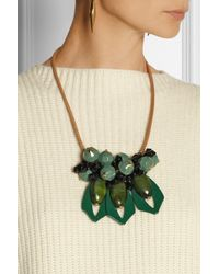 Marni Green Leather, Resin And Horn Necklace