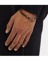 Mulberry - Black Woven-Leather Bracelet for Men - Lyst
