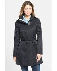 Kensie - Black Contrast Trim Belted Trench Coat - Lyst