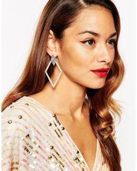 ASOS - Metallic Statement Occasion Earrings - Lyst
