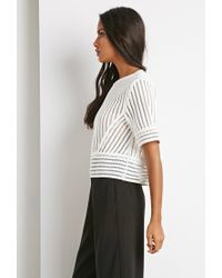Forever 21 | White Striped Mesh Boxy Top | Lyst