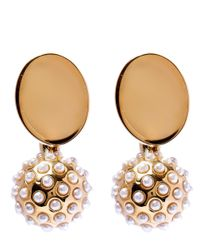 Chloé | Metallic Gold And Pearl Darcey Earrings | Lyst