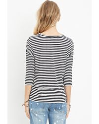 Forever 21 - Black Striped Boxy Top You've Been Added To The Waitlist - Lyst