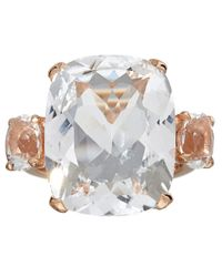 Dinny Hall Metallic Rose Gold Vermeil Rock Crystal Trinity Ring