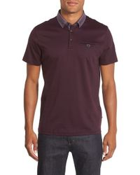 Ted Baker | Purple 'Corso' Modern Slim Fit Print Collar Polo for Men | Lyst