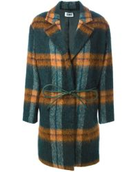 Sonia by Sonia Rykiel - Green Belted Checked Coat - Lyst