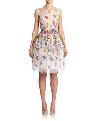 Oscar de la Renta White Floral Embroidered Silk Organza Dress