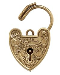 Annina Vogel - Metallic Vintage Gold Fancy Heart Padlock Charm - Lyst