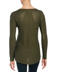 Lord & Taylor | Green Hi-lo Zip Sweater | Lyst