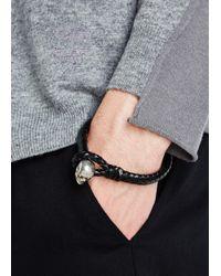Alexander McQueen - Black Braided Leather Bracelet for Men - Lyst