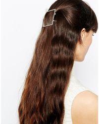 ASOS | Metallic Open Square Hair Clip | Lyst