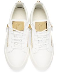 Giuseppe Zanotti White & Gold Leather Low-top London Sneakers for men