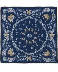 KENZO Blue Navy Paisley Print Tiger Silk Scarf for men