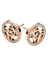 Michael Kors | Pink Rose Goldtone Mk Logo Earrings | Lyst
