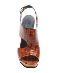 Rodarte - Brown Embossed Crocodile Leather Sandal With Clear Lucite Wedge - Lyst