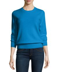 Neiman Marcus - Blue Long-sleeve Crewneck Cashmere Sweater - Lyst