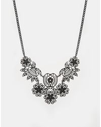 Oasis | Black Articulated Lace Collar Necklace | Lyst