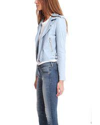 IRO Blue Ashville Leather Jacket