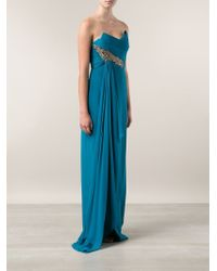 Notte by Marchesa Blue Sequin Embroidered Detail Gown