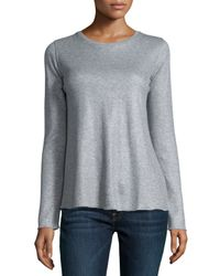 Neiman Marcus | Cotton/cashmere Double-face Long Sleeve Metallic Crewneck Top | Lyst