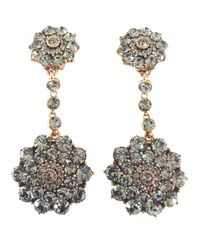 Oscar de la Renta - Black 'classic Jeweled' Swarovski Crystal Drop Earrings - Lyst