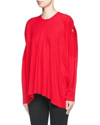 Alexander McQueen Red Cut-out Sleeve Wool Sweater