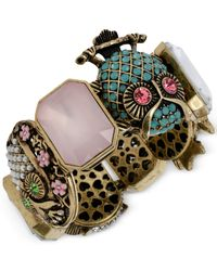 Betsey Johnson - Multicolor Gold-Tone Owl Stretch Bracelet - Lyst