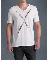 John Varvatos White Busted Drumsticks Graphic Tee for men