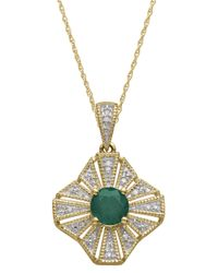 Lord & Taylor | Green 14Kt. Yellow Gold Emerald And Diamond Pendant Necklace | Lyst