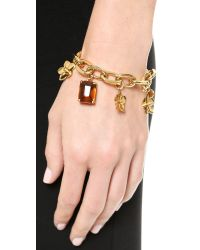 Tory Burch Metallic Cecily Charm Bracelet - Honey/Antiqued Gold
