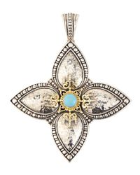 Konstantino | Blue Turquoise Cabochon Cross Enhancer | Lyst